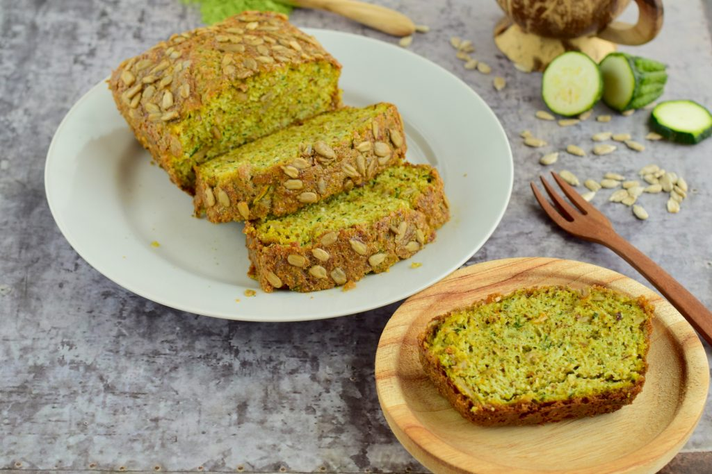 Slices of zucchini sunflower seed bread